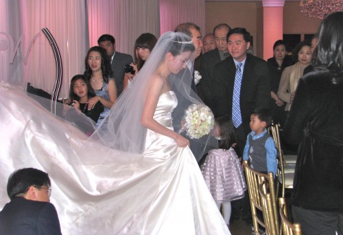 Beautiful Bride and Amazing Dress at Fun Rhode Island Wedding DJ