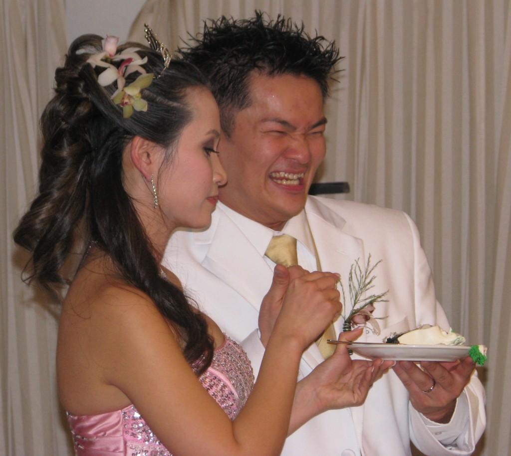 Bride and Groom Cutting Cake with Fun New Jersey Asian Wedding DJ