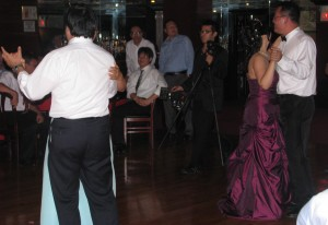 Bride and Groom Dancing with Friends and Family at Rhode Island Multicultural Wedding