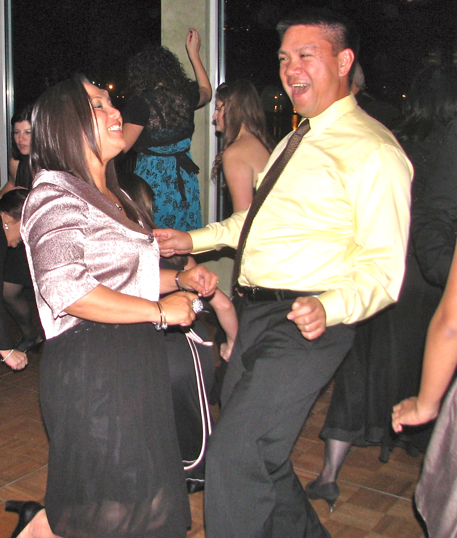 Happy Couple Dancing with Fun Multicultural Wedding DJ at The View On The Hudson