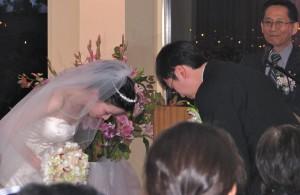 Bride and Groom Bow at Beautiful Rhode Island Wedding DJ
