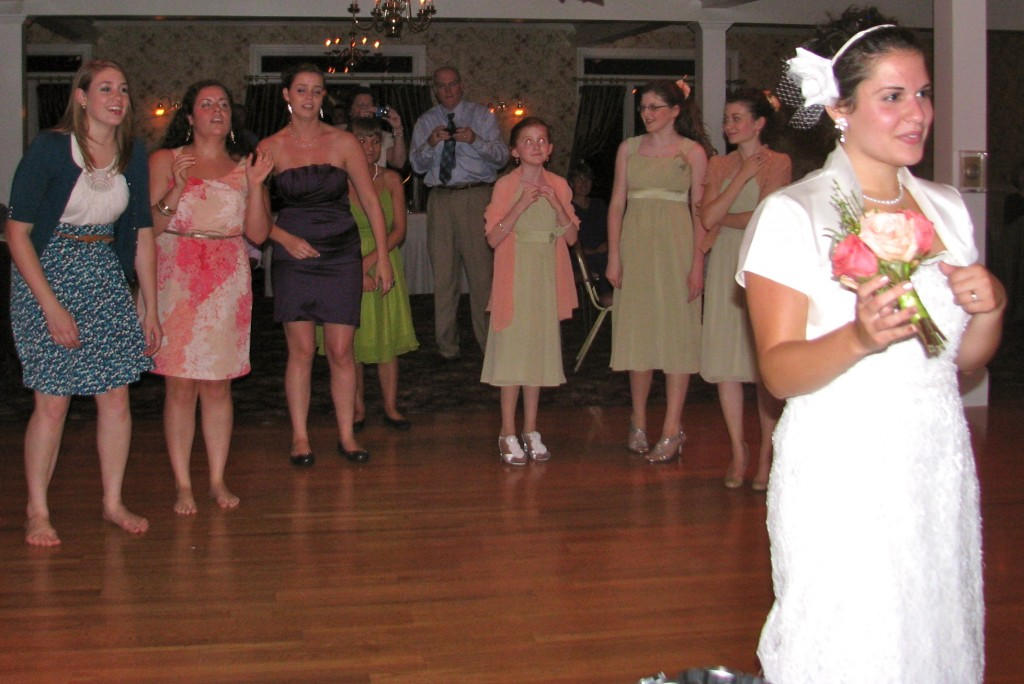 Bouquet Toss with Friends and Family Dancing with Fun Wedding DJ