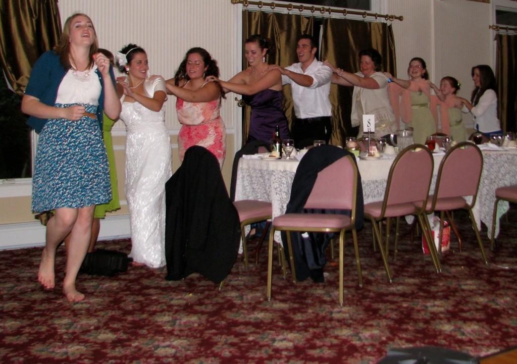 Conga Line Friends and Family Dancing with Fun Wedding DJ