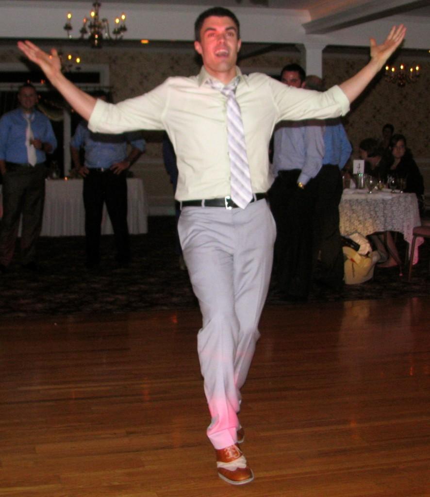 Happy Man Friends and Family Dancing with Fun Rhode Island Wedding DJ