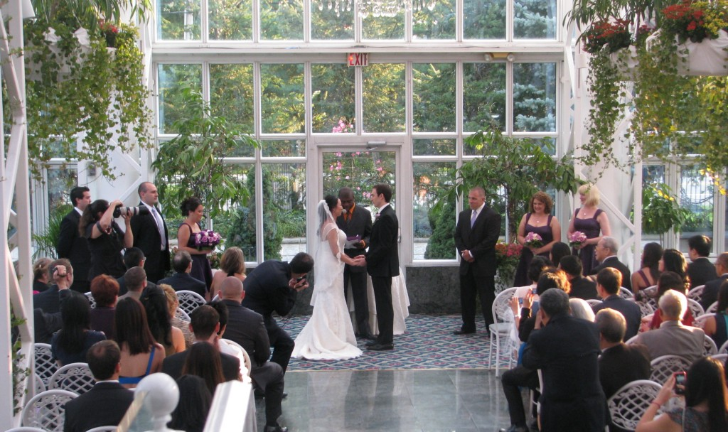 Bride and Groom Wedding Ceremony with Fun Multicultural Rhode Island Wedding DJ at Madison Hotel Morristown