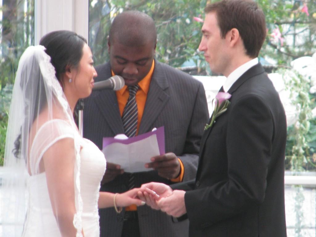 Bride and Groom Wedding Ceremony with Rhode Island Wedding DJ at Madison Hotel