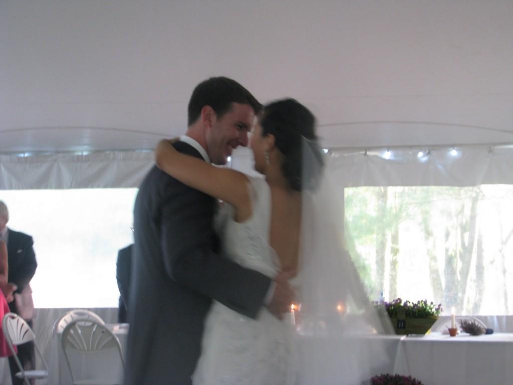Fun Bride and Groom First Dance at New Jersey Ooutdoor Wedding