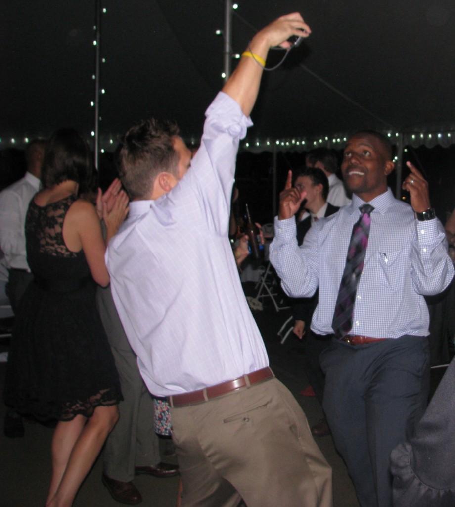 Fun Men Dancing with Outdoor Rhode Island Multicultural Wedding DJ