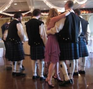 Groomsmen in Kilts at Fun Wedding with DJ Mystical Michael