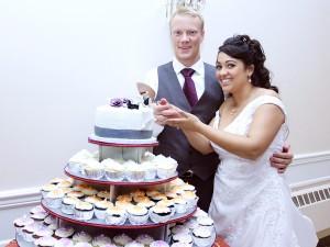 Bride and Groom Cake Cutting with Fun Rhode Island Wedding DJ