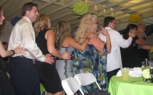 Line Dancing at Beautiful Rhode Island Wedding DJ at Outdoor Wedding