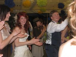 Happy Bride and Groom Dancing at Beautiful Rhode Island Wedding DJ at Outdoor Wedding