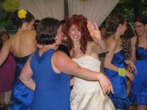 Happy Bride Dancing at Fun Rhode Island Wedding DJ at Outdoor Wedding