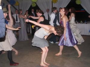 Happy Women Dancing at Fun Rhode Island Wedding DJ at Outdoor Wedding