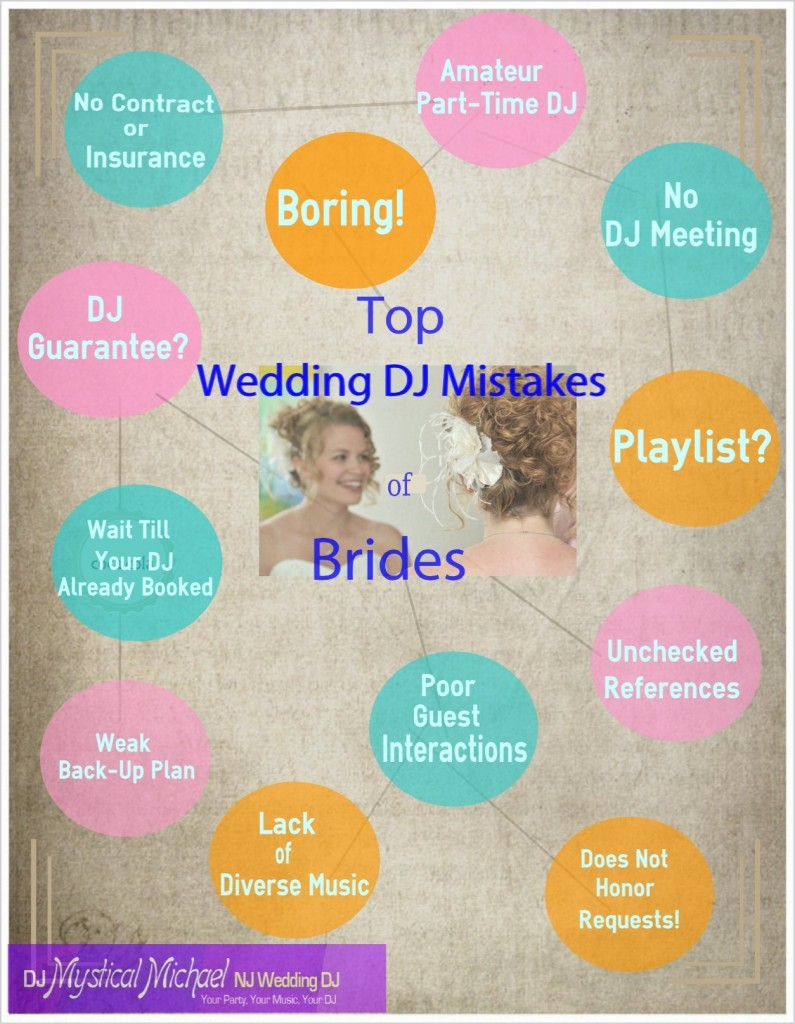 Top Wedding DJ Mistakes of Brides by DJ Rhode Island Wedding DJ with free infographic
