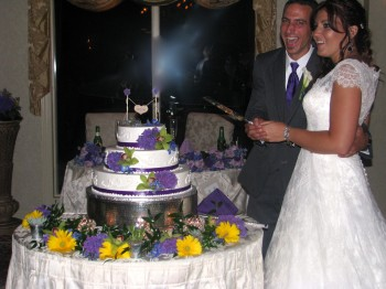 Bride and Groom Cut Cake with Rhode Island Wedding DJ at The English Manor